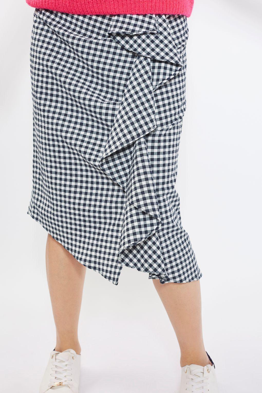 1920249677 Gingham Ruffle Midi Skirt | Skirting the Issue! | Gingham skirt ...