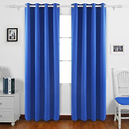 Deconovo Fashionable Thermal Insulated Curtains Grommet Curtains Blackout Curtains Window Curtains for Boys Room 52W x 84L Inch Royal Blue 1 Pair