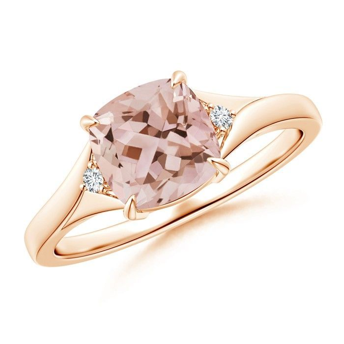 Angara Emerald-Cut Morganite Ring with Diamond Accents in White Gold