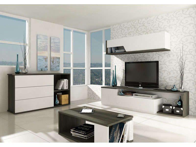 Meubles Tv 2 Portes 1 Tiroir Tokk Coloris Anthracite Et Blanc