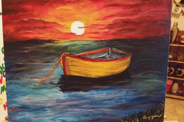Boat/sunset painting - amy yovan