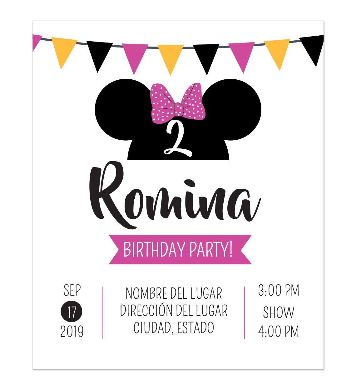 Invitación Cumpleaños Minnie Fiesta Cumpleaños Minnie