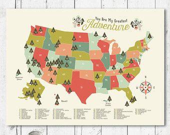 Adventure Awaits US National Park Map NurseryKids Print 11 x 14