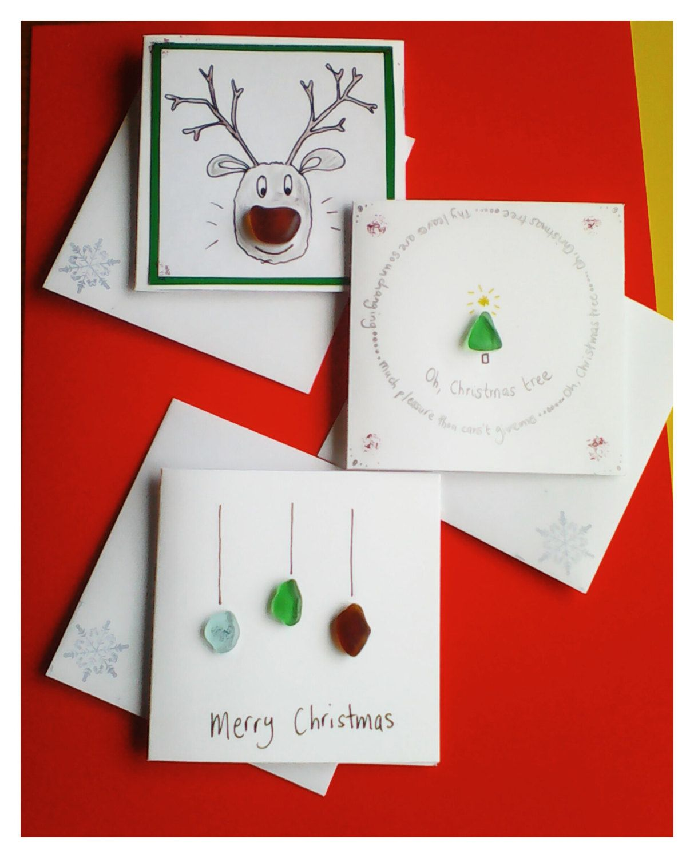 Christmas Notecards.Set Of Sea Glass Christmas Cards Hand Made Christmas Cards