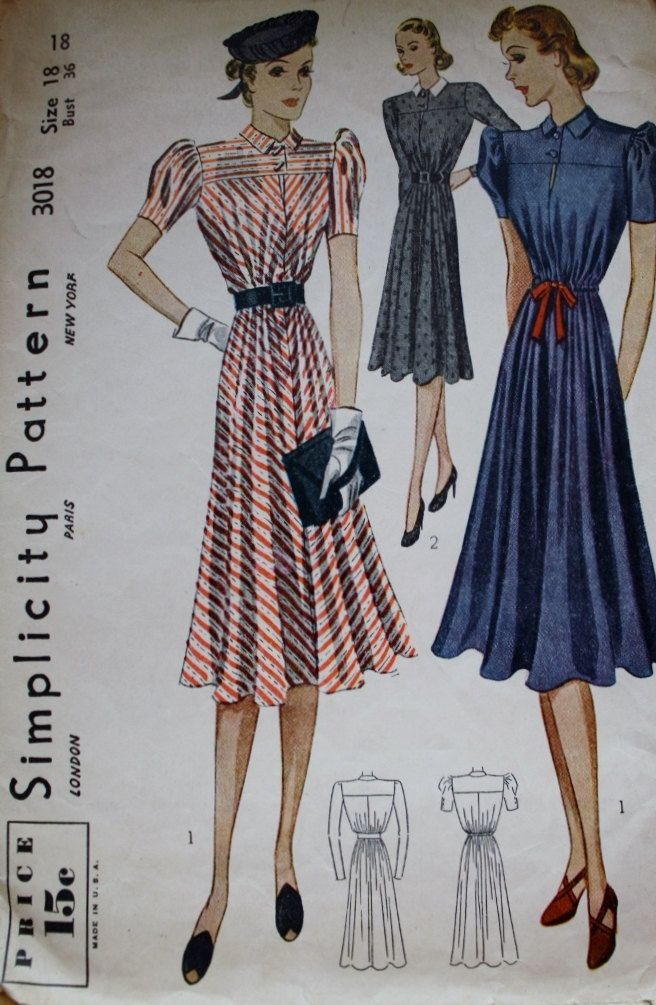 1930s Dress Pattern Simplicity 3018 Bust 36 Vintage Sewing Pattern MISSING SLEEVE STIFFENING Piece by BluetreeSewingStudio on Etsy