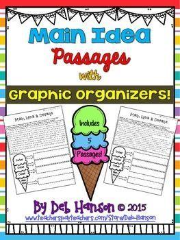 Main Idea Worksheets With Ice Cream Cone Graphic Organizers Main Idea Worksheet Graphic Organizers Main Idea