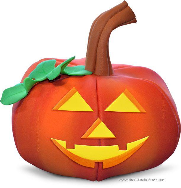Paso a paso y moldes gratis de calabaza en foamy goma eva - Calabazas para halloween manualidades ...