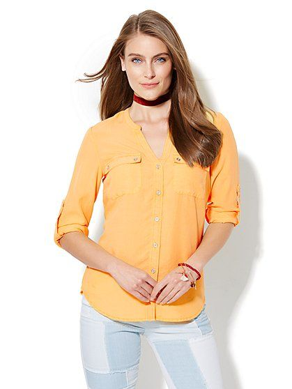 Soho Split-Neck Soft Shirt - Cornsilk Yellow     - New York & Company