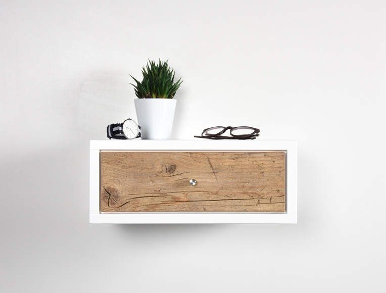White Floating Nightstand Bedside Table Drawer In Solid Old Wood