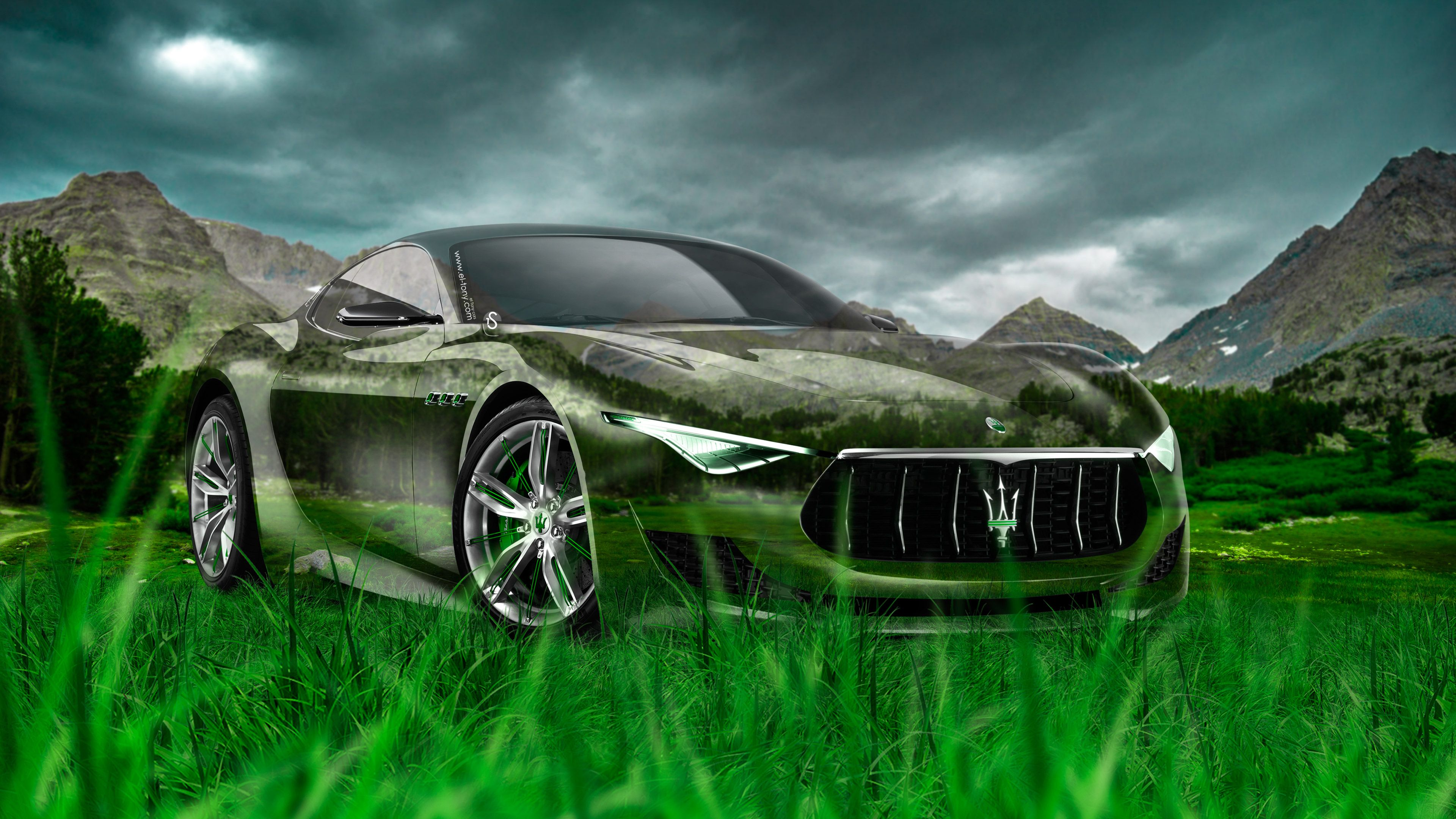 Maserati Alfieri Crystal Nature Car 2014 Green Grass