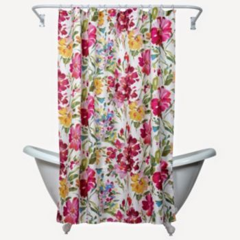 Zenna Home Watercolor Floral Fabric Shower Curtain Floral Shower
