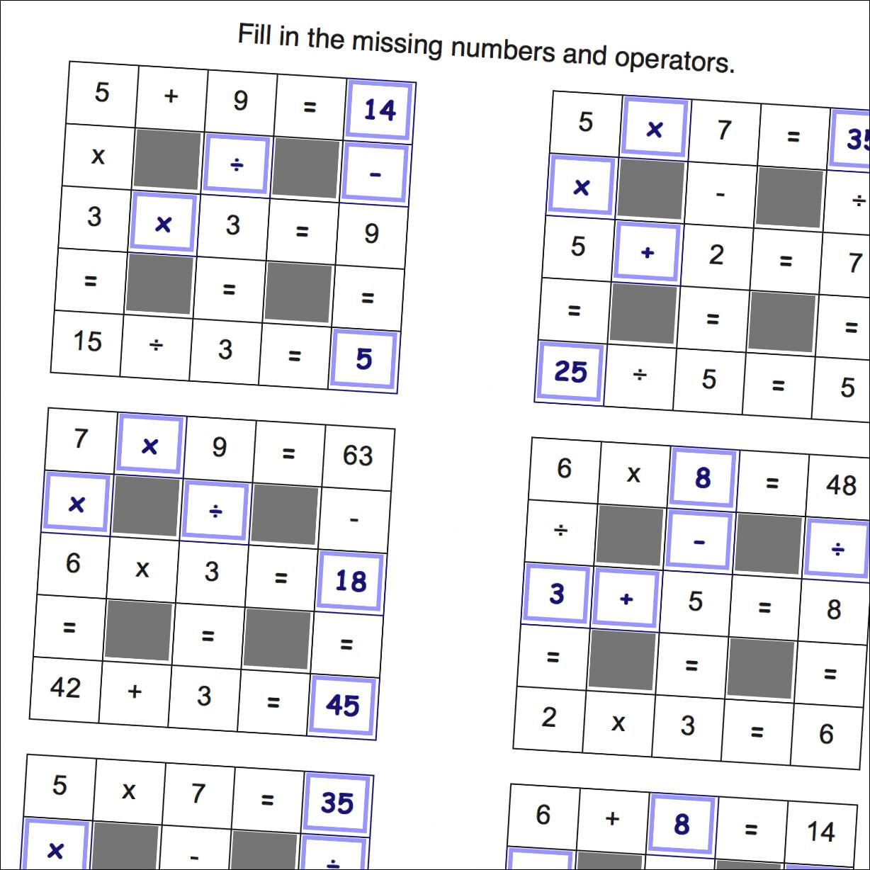 Grid Puzzle Worksheets All Operations With Missing Values
