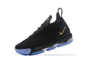 ee9d44ab215 Mens Nike LeBron 16 Black Gold Blue Basketball Shoes