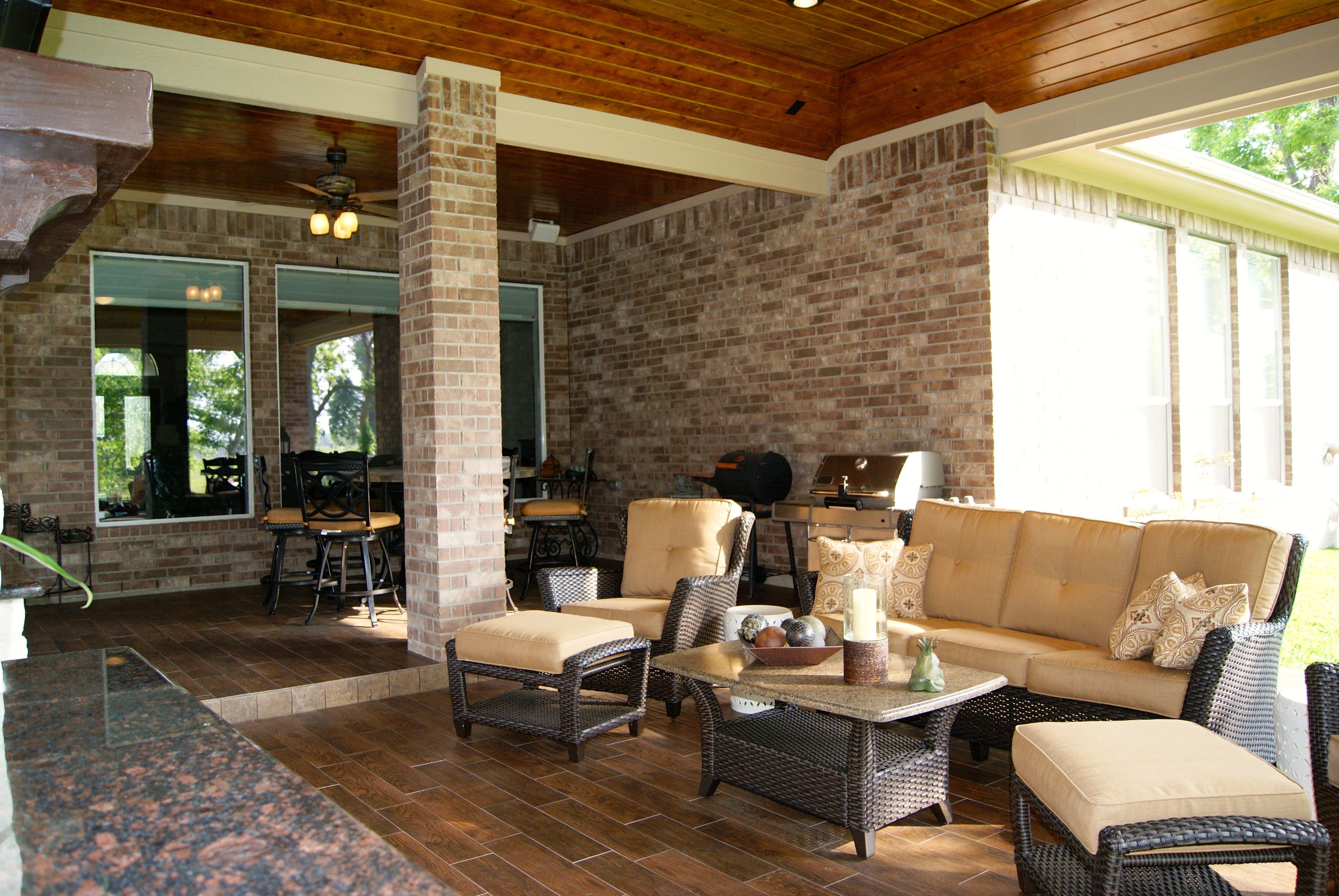 Outdoor living room with wood plank porcelain tile | Patio ... on Outdoor Living Room Set id=61836