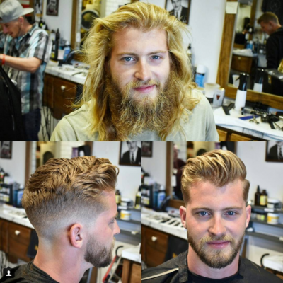 This Young Handsome Man Had His Chiseled Looks All Covered Up By A Beard And Long Hairstyle When Before And After Haircut Haircuts For Men Long To Short Hair