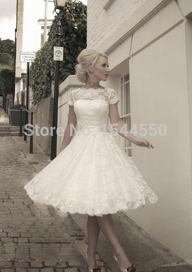 Enchanting White Tea Length Wedding Dresses Adornment - Wedding Plan ...