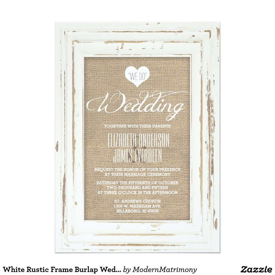 White Rustic Frame Burlap Wedding Invitation | Framed burlap ...