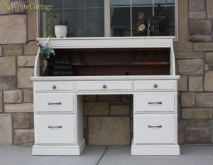 Before And After Rustic White Roll Top Desk