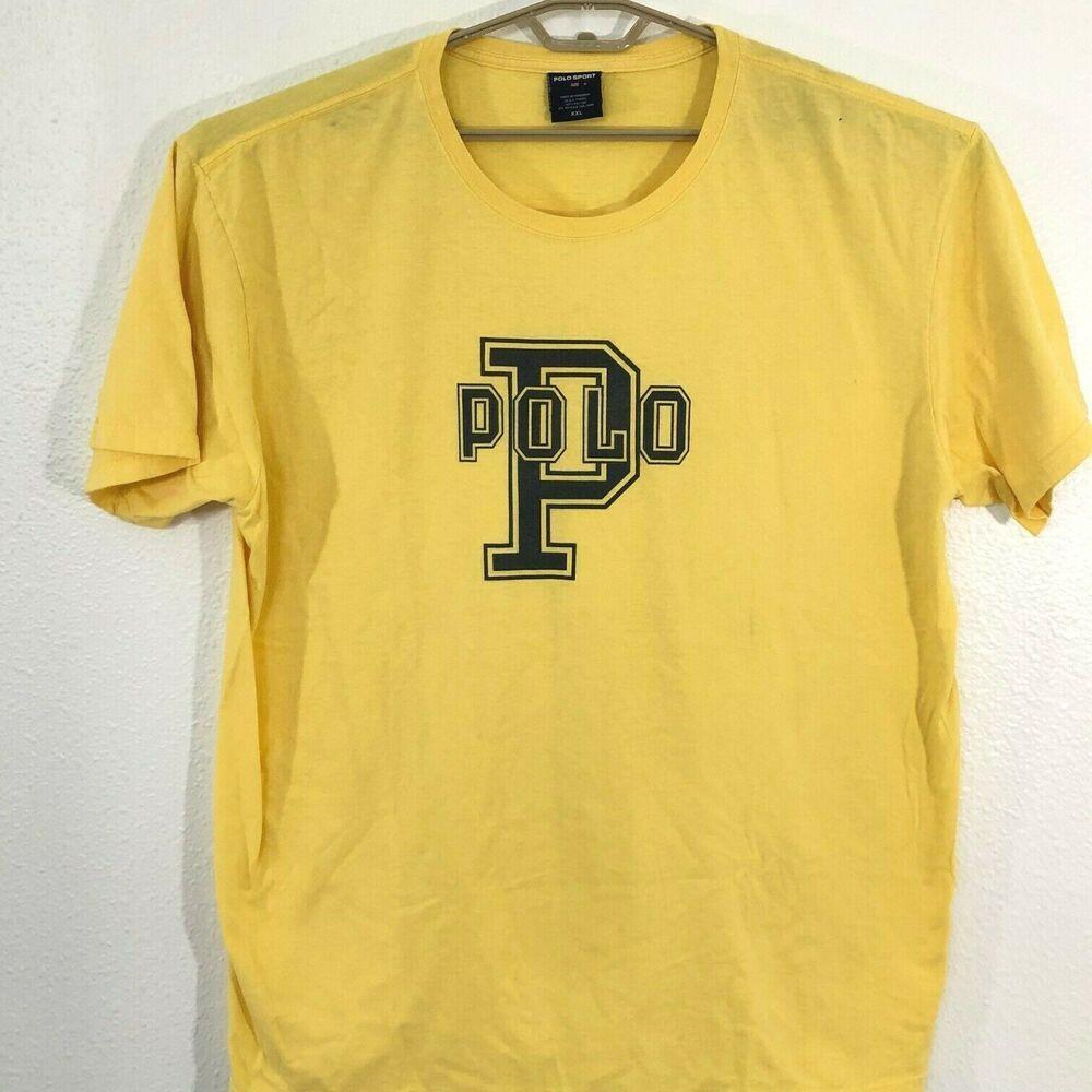 Vintage Polo Sport Ralph Lauren Spellout T shirt Yellow