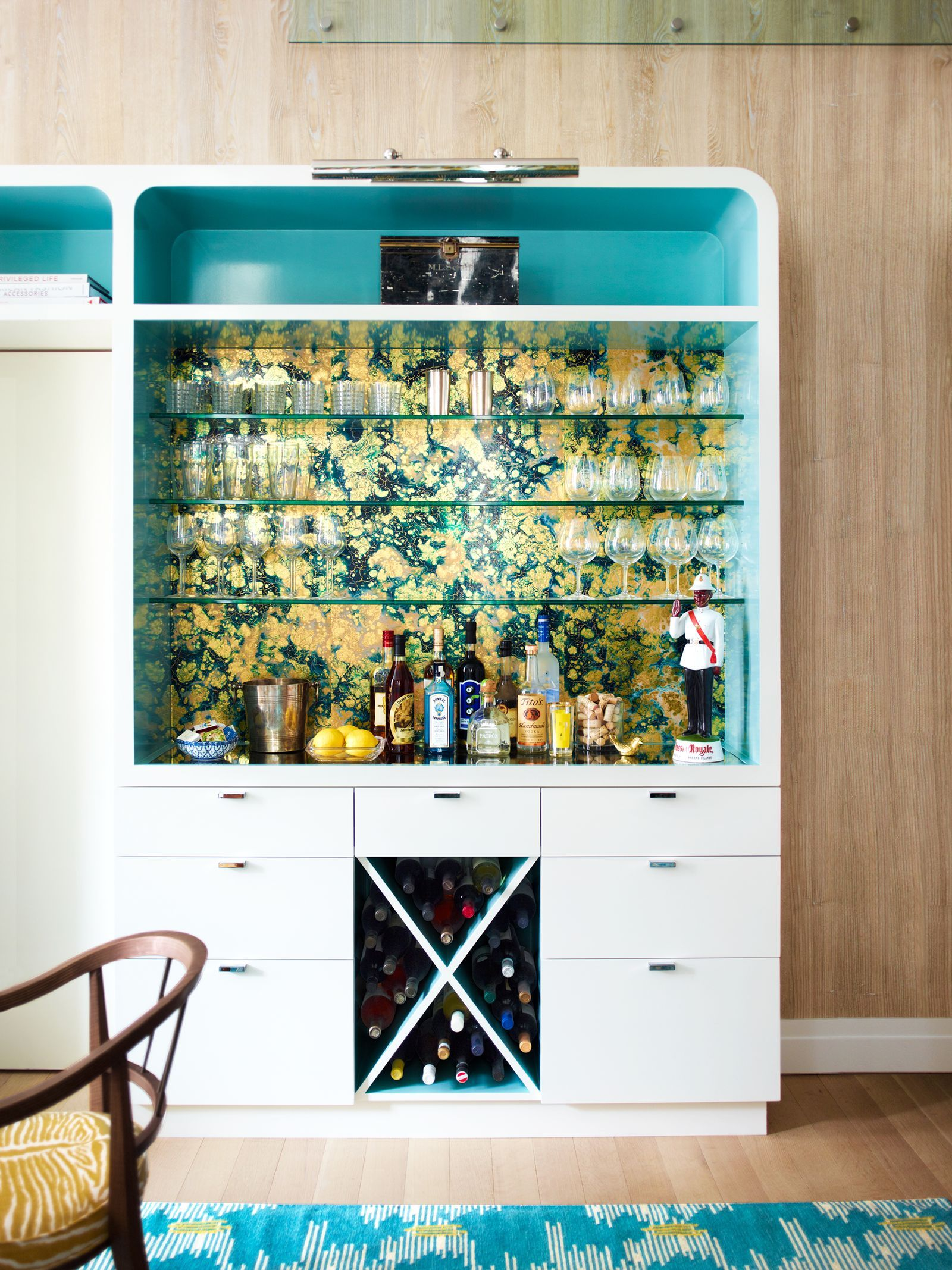 13 Creative Ways To Use Peel And Stick Wallpaper Bars For Home Glass Shelves Glass Shelves Kitchen