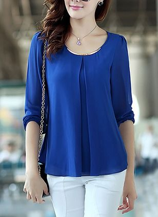 Solid Elegant Polyester Round Neckline Long Sleeve Blouses