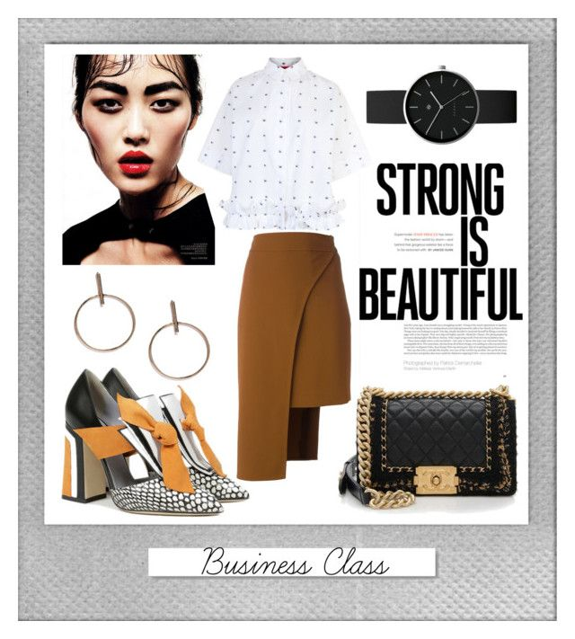 """""""Business Class: Strong Is Beautiful"""" by ispdesign ❤ liked on Polyvore featuring Polaroid, Pollini, Cushnie Et Ochs, Chanel, McQ by Alexander McQueen, Newgate and White Label"""