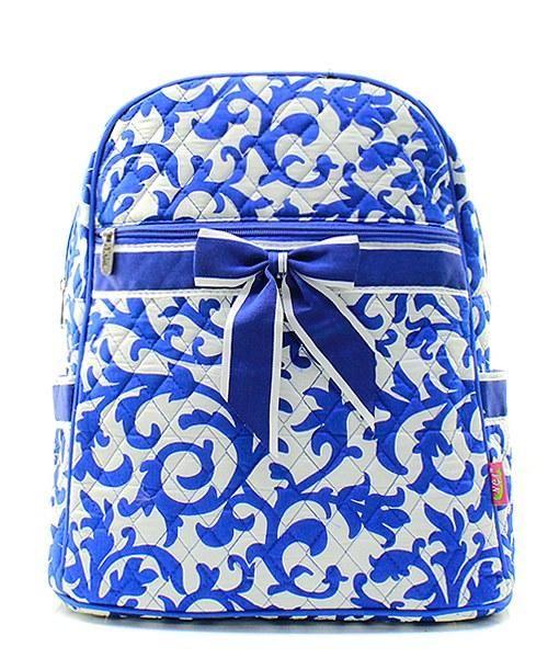 Book Bag Damask print Backpack Back Pack School Bag