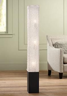 Textured Clear Acrylic Rectangular Floor Lamp Modern Floor Lamps