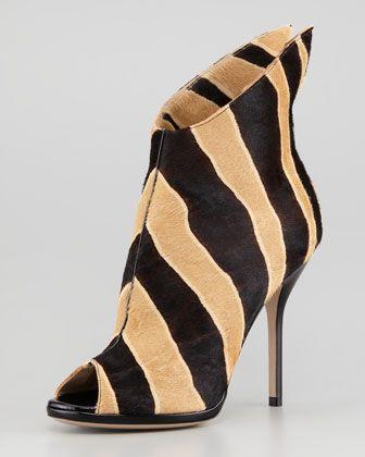 Zebra-Print Calf Hair Peep-Toe Bootie by Paul Andrew at Neiman Marcus