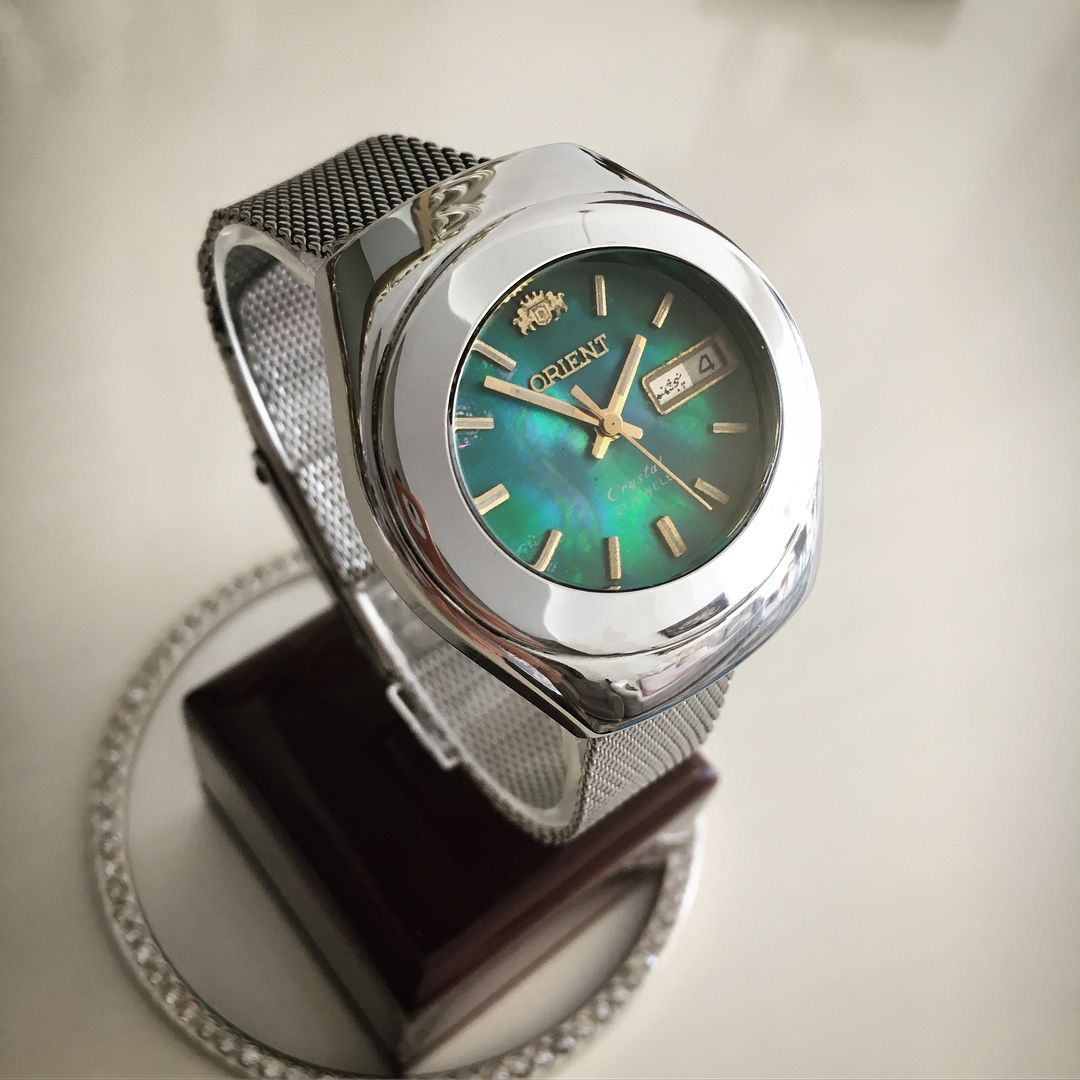 Saatjibi ساعت آنتيك و قديمى فروخته شد ساعت اتوماتيك اورينت آپولويى صفحه صدفى تقويم Bling Omega Watch Jaeger Watch