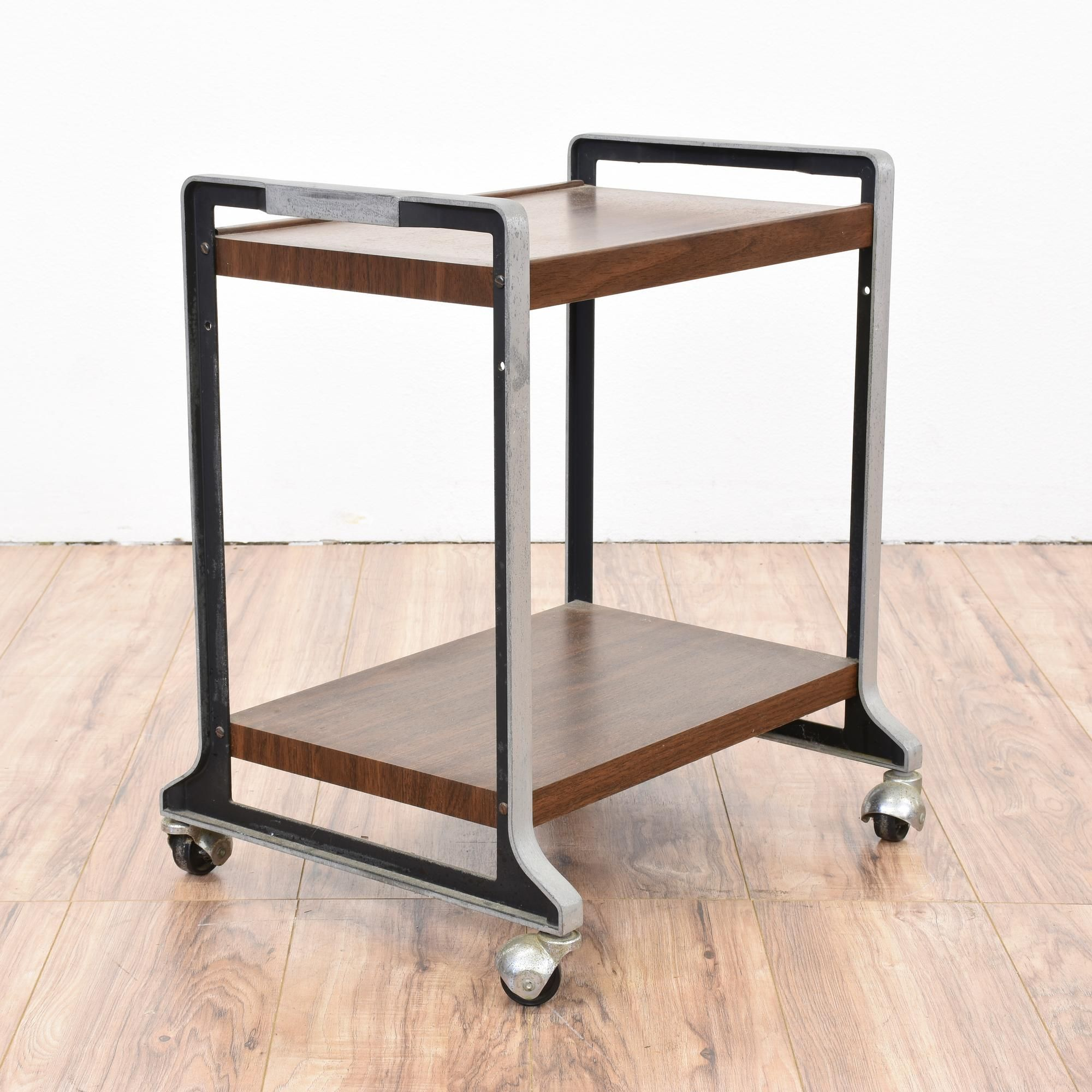This Industrial Office Cart Is Featured In A Metal With A Retro Steel  Finish. This Rolling Cart Is In Great Vintage Condition With 2 Wood Shelves  With A ...