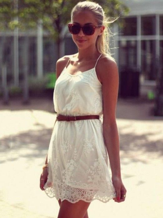 Sexy U-neck Halter Top White Embroidered Lace Dress