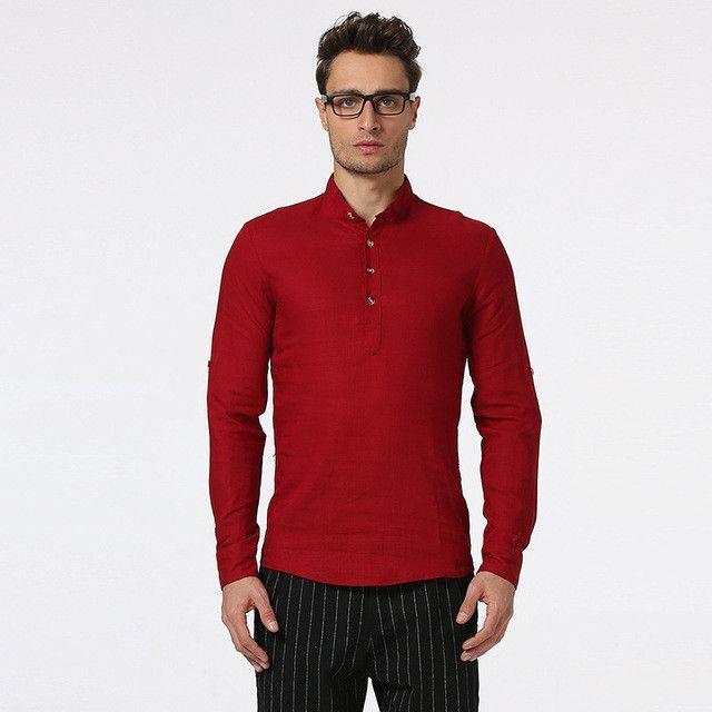 Men Henry Collar Casual Shirt European Size S-2XL Fashion Long Sleeve Linen Shirts for Men