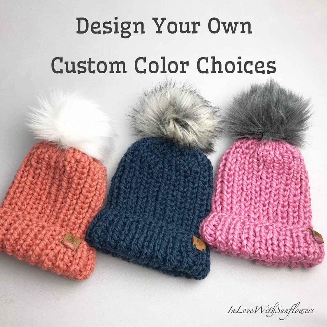c68cdde0949 Excited to share this item from my  etsy shop  Customizable Knit Beanie  with Faux Fur Pom Pom - Design Your Own - Folded Brim or Slouchy Fit -  Chunky Knit- ...