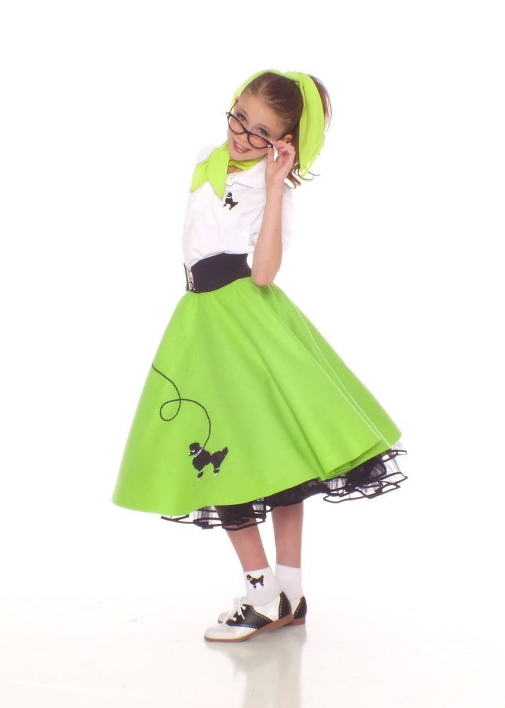 6 pc Large Child 50 s POODLE SKIRT Outfit Costume - Lime Green   HipHop50sShop 353ceca0013