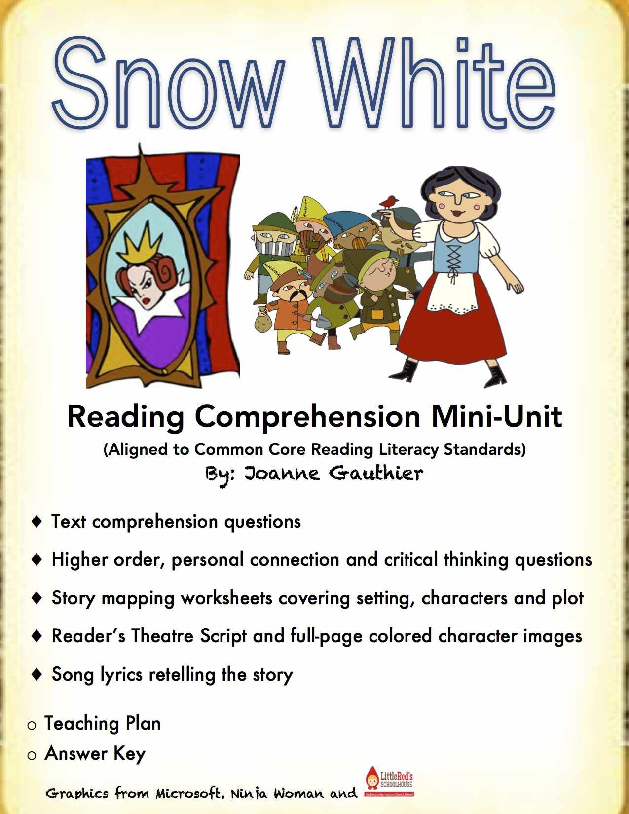 Snow white a primary literacy unit reading comprehension kids usually love reading fairy tales and this snow white unit will build reading comprehension skills robcynllc Image collections