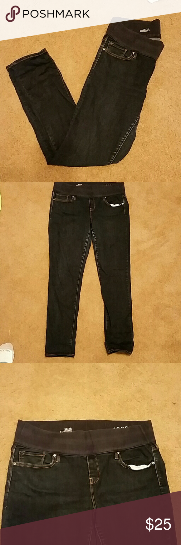 """Gap Maternity jeans Gap Maternity jeans size 32/14R.  Dark blue denim, always skinny fit and under belly waist. 30"""" inseam.  Take a look at my many other tall, maternity, nursing, boys and baby girl clothes listed! I'm always open to bundled offers! Gap Maternity Jeans Skinny"""