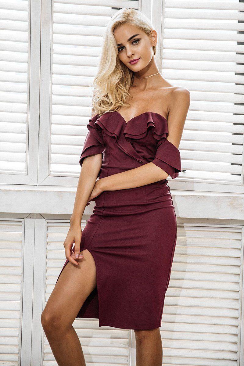375387309d645d Product Description: Buy women's party wear Off shoulder ruffle sexy  bodycon high waist short dress with slit by PesciModa Details: Material:  Cotton ...