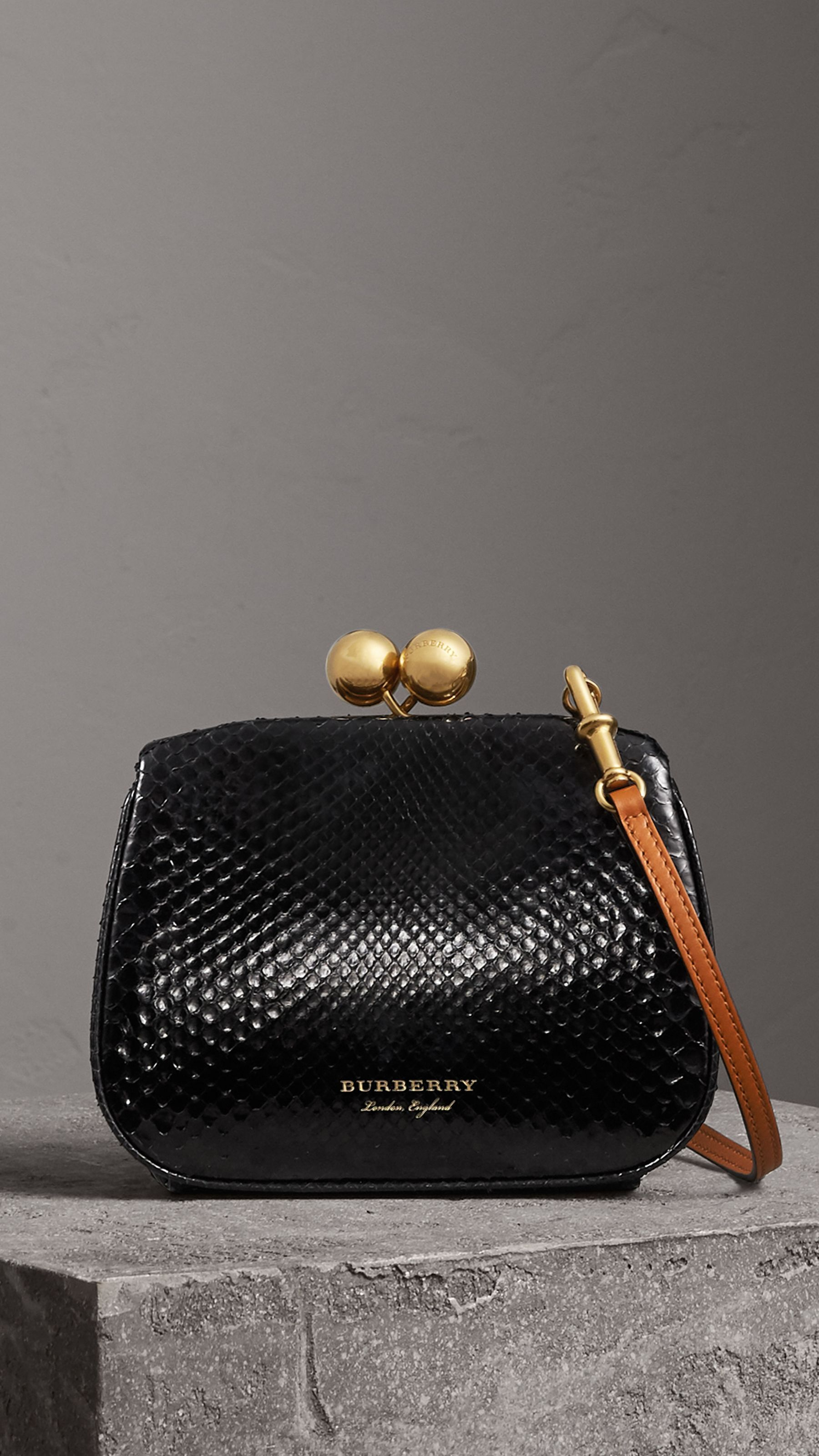 dd1916f9a64 Small Two-tone Python Metal Frame Clutch Bag in Black - Women   Burberry  United States
