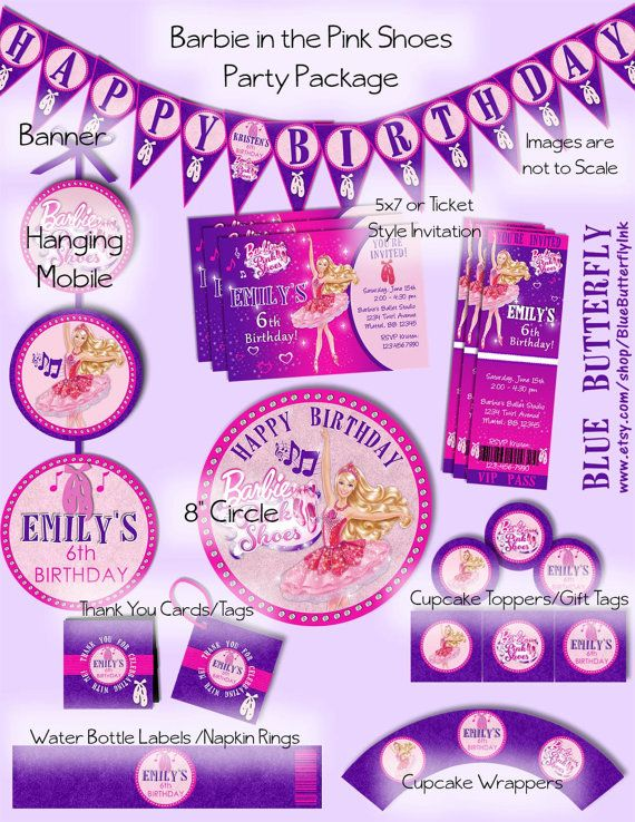 Barbie In The Pink Shoes Party Package Including Invitation Printable And Customized With Your Details Digital Files Includes Card Or Ticket Style