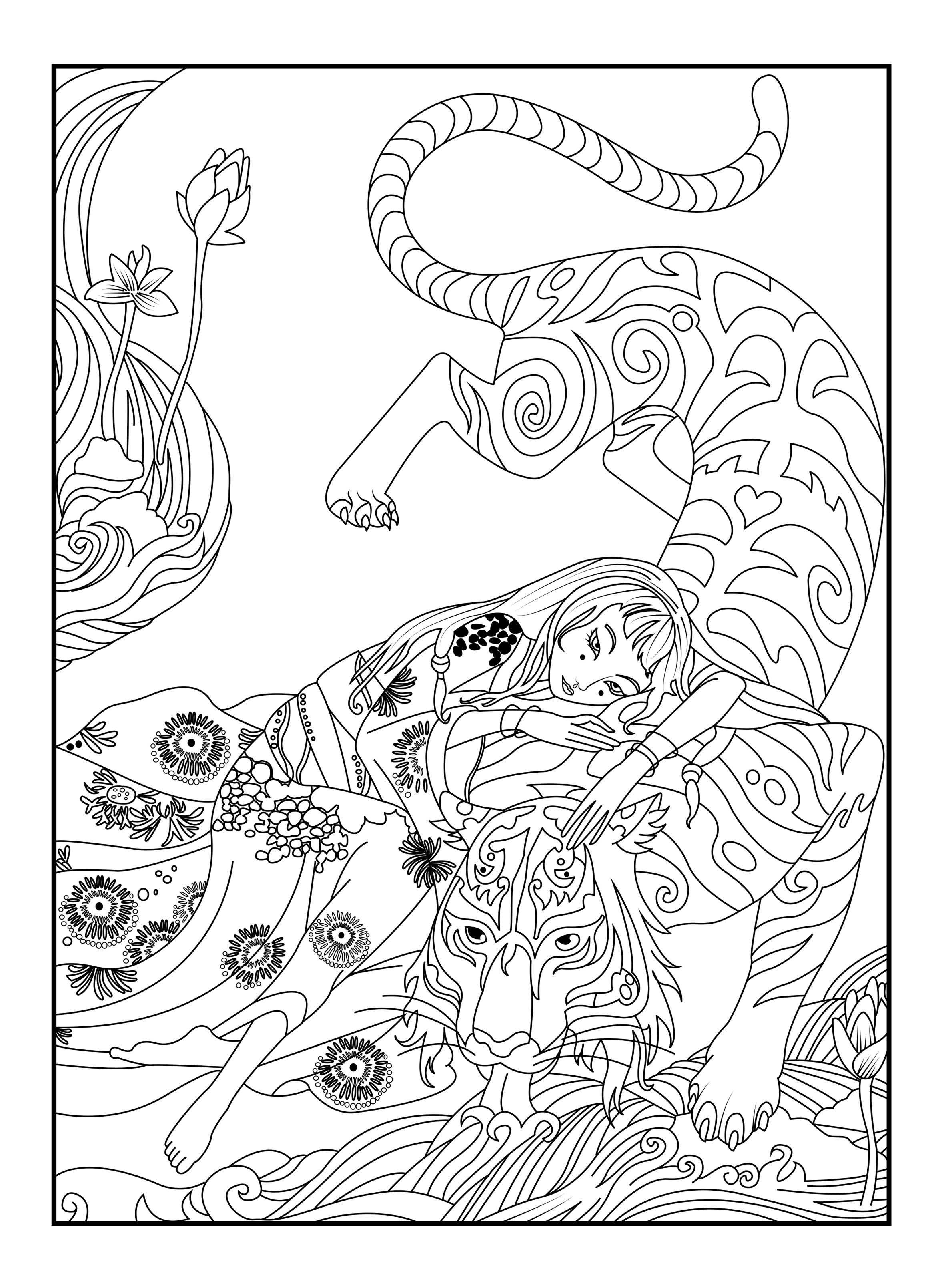 Here is a coloring page with a tiger by Cline From the gallery