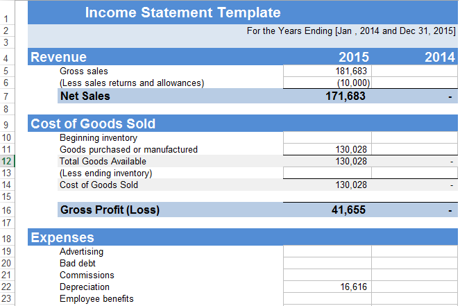 statement of income format in excel