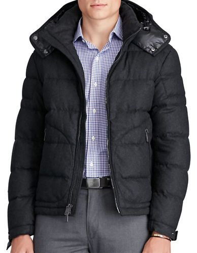 Polo Ralph Lauren Merino Wool-Blend Down Jacket Men s Dark Charcoal ... 5fe2774029