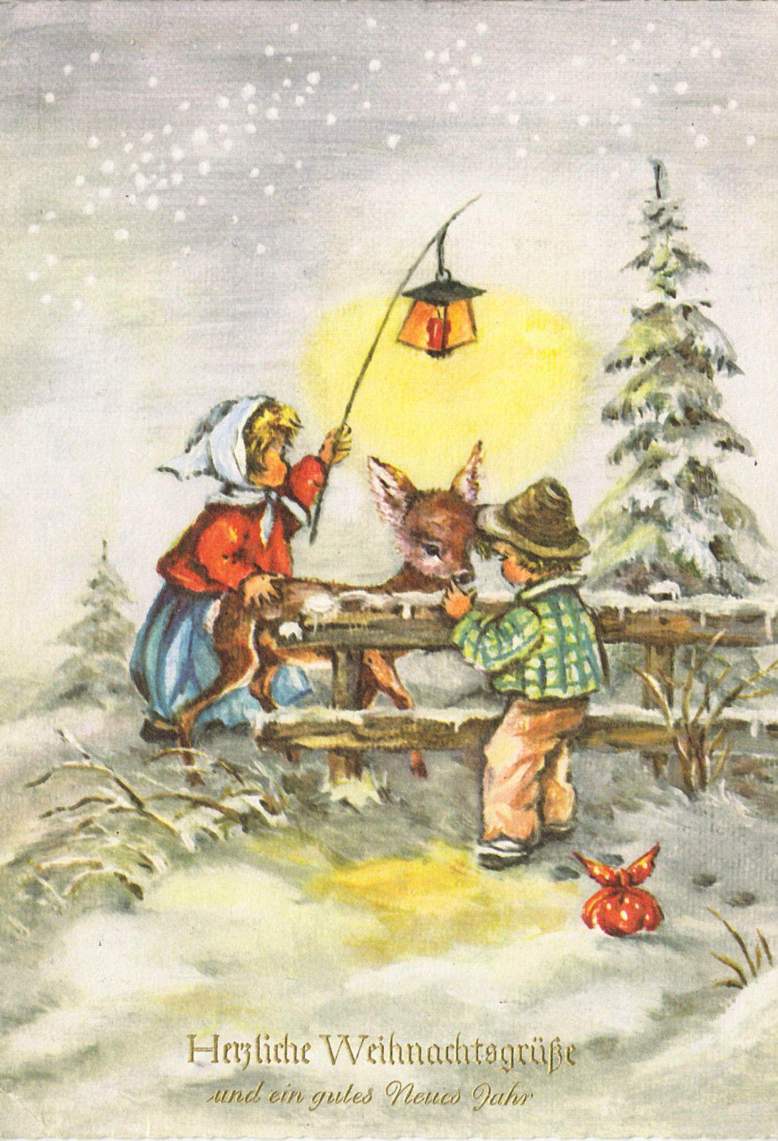E Cards Weihnachten.Weihnachten 2 Kinder Und Reh Gel Ebay Greeting Cards Vintage