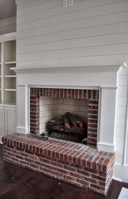 white shiplap walls with brick fireplace - Google Search ...
