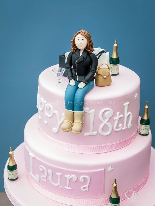Image Result For Pink 18th Birthday Champagne Cake Adult Female