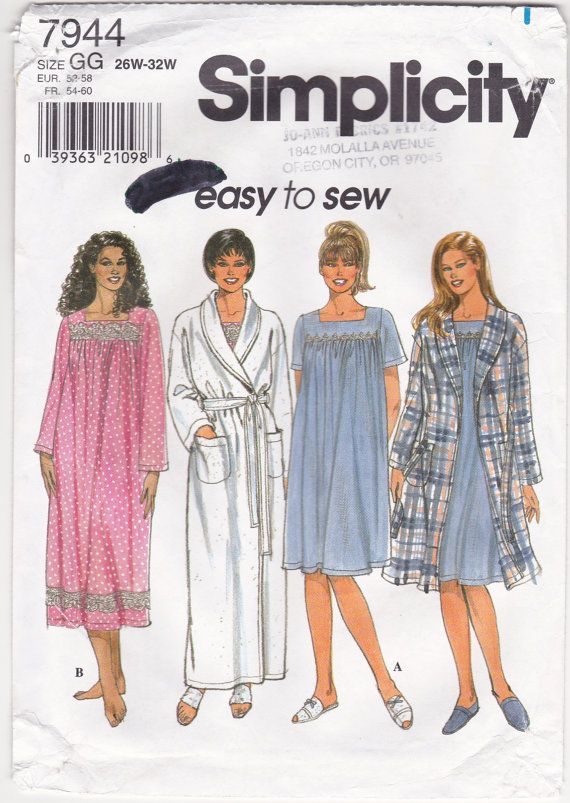 Simplicity 7944 Pullover Nightgown Wrap Robe Shawl Collar Bathrobe ...