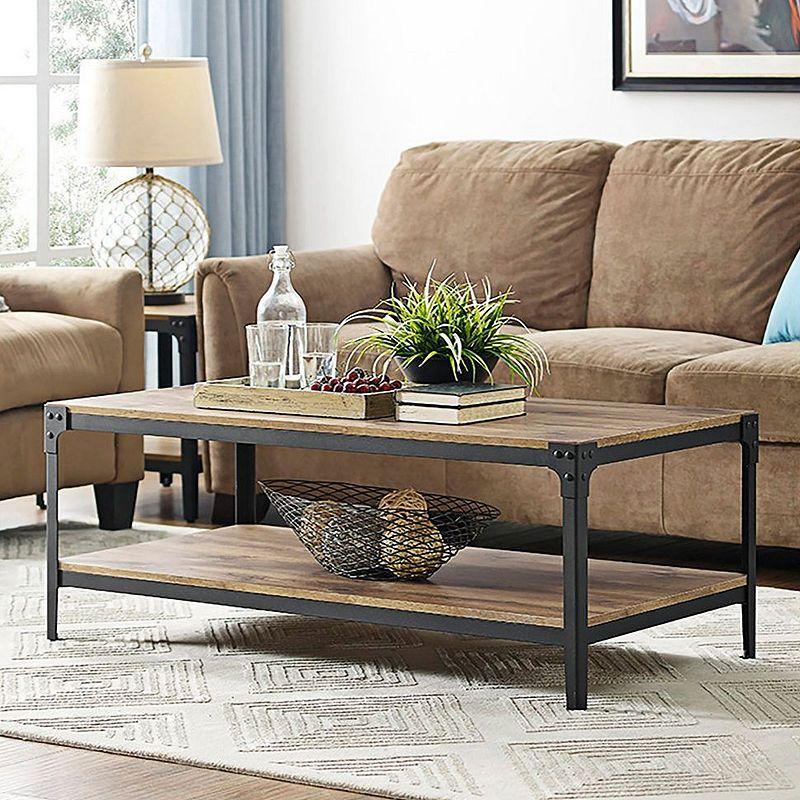 Angle Iron Rustic Wood Coffee Table Idee Table Basse Table Basse Bois Table Basse