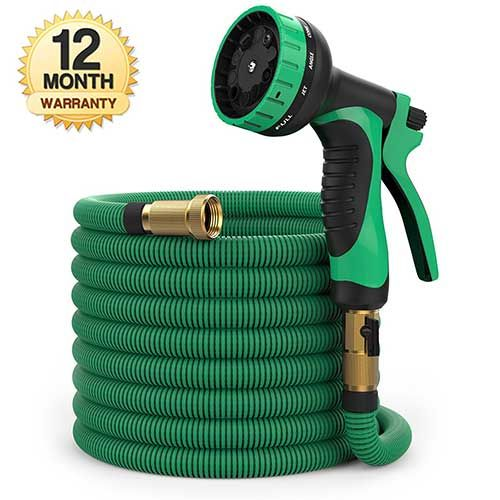 best retractable garden hose 100 ft hose expandable garden hose heavy duty flexible hose water hose with 9 pattern spray nozzle and hose storage bag - Best Expandable Garden Hose