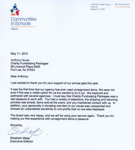 Charity Auction Items Testimonial Letter From Communities In Schools